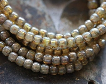 CASHMERE DRUKS 3mm .. 50 Picasso Czech Druk Glass Beads 3mm (3676-st)