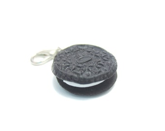 Oreo Cookie Charm, Miniature Food Jewelry, Polymer Clay Food Jewelry