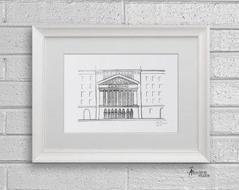 Sketch Series - New York Stock Exchange, New York City - Art Print (5 x 7)