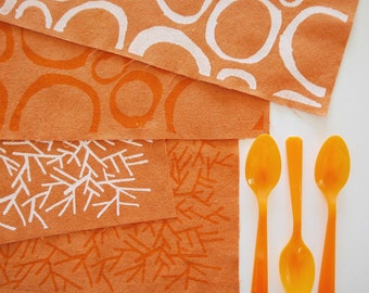 Pumpkin Fabric Panel in Snow White or Orange Zest Ink