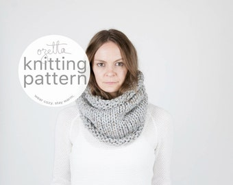 Knitting Pattern / Simple Chunky Cowl, Scarf, Tube Cowl / THE KODIAK Cowl