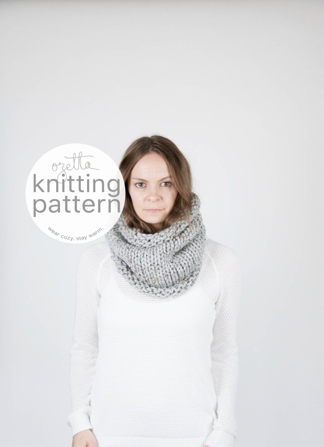 Knitting Pattern / Simple Chunky Cowl Scarf Tube Cowl / THE