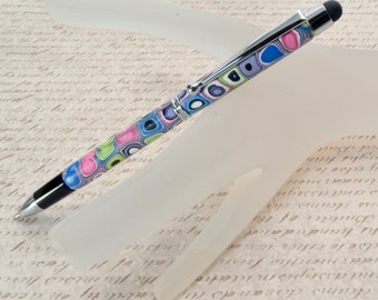 Touch Stylus Pen - Retro Dots - A MUST HAVE for iPads, iPhones, tablets, smart phones, and more- Writing Pen