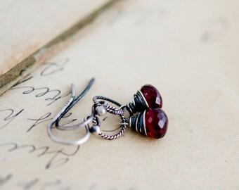 Garnet Earrings, Drop Earrings, Wire Wrapped, January Birthstone, Dangle Earrings, Sterling Silver, Dark Red, Garnet Jewelry,