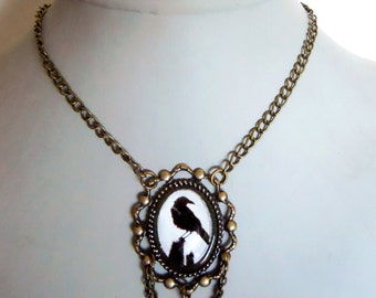 Raven crow Necklace in an Ornate antique brass frame Setting with crystals Gothic Tea Party Jewelry