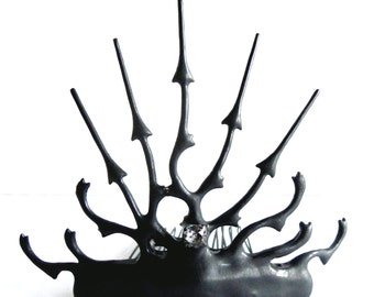 Tiara Spike with a little bit of punk rock Clock hand black noir steampunk gothic Tiara perfect for that unique bride or elegant tea party