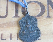 Vintage Buddha Buddhist Medal Necklace on a Blue Silk Cord