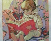 Child with Animal Book Needlepoint on #16 Canvas Handpainted Theodora