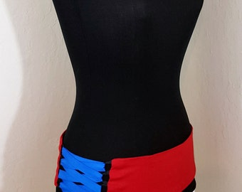 Red and Black Reversible Belly Dance Corset Style Lace Up Belt Shaped to Fit Your Hips