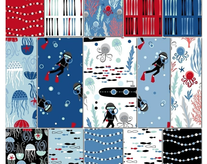 Come Dive with Me - half yard bundle of 15 - Whistler Studios for Windham - cotton quilting fabric