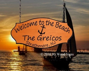 Custom Wood Carved Sign -  Personalized Beach Family Name Sign - Redwood Wooden Anchor sign - JGWoodSigns - Etsy Greico Beach Lake Cabin