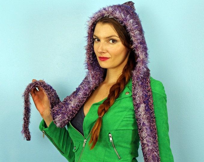 Purple Hooded Scarf  Crochet Snood Skood Handmade Gift for Her