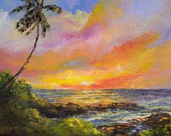 PARADISE SUNSET Framed Original Oil Painting Art Hawaii Tropical Ocean Beach Island Palm Tree Hawaiian Romantic Relax Sunrise Maui Kauai
