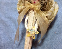 Unique one of a kind Handmade Dried OKRA Fairy Guardian Garden Angel ChristmasTree Ornament or home decor