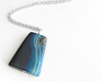 Navy Blue Agate Necklace, Striped Stone Pendant, Geometric Jewelry