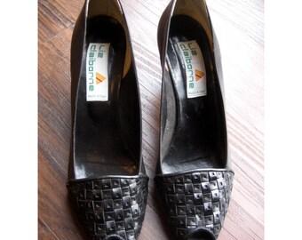SALE Liz Claiborne Black Peeptoe Heels Gorgeous Italian Leather Sz 8
