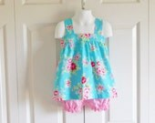 Apron Style Pinafore Top and Bloomers Set Shorts SET - baby or toddler girls - 6 mos to size 6 - Aqua Floral - Lecien Collection