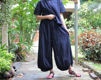 Wide relax pants 100% cotton Hand  embroidery (136) one size
