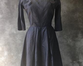 1950's navy silk Marusia dress
