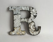 """Tin Ceiling Wrapped 8"""" Patchwork Reclaimed Metal White Letter """"R"""" Mosaic Wall Hanging 210-16"""