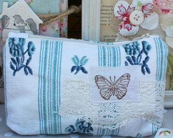 Pouch zipper old French blue stripe fabric butterfly