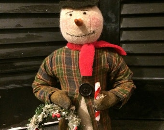 Primitive Christmas Snowman with Wreath and Candy Cane