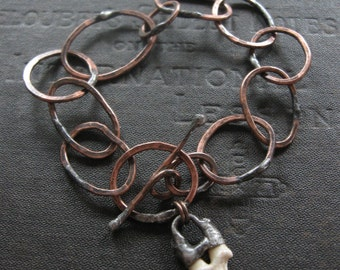 Handmade Copper Chain Bracelet with Coyote Tooth Dangle - Mixed Metals