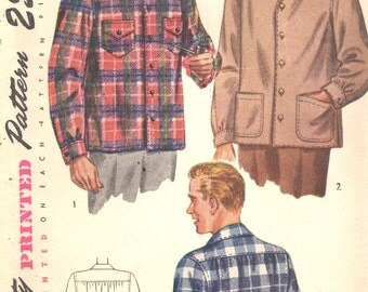 1940s Simplicity 1961 Mens Flannel Shirt Pattern Adult Teen EASY Vintage Sewing Pattern Size Small Chest 34 36 OR Medium Chest 38 40