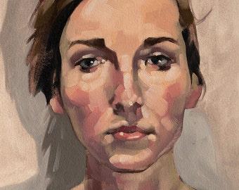 "Oil Painting Portrait, Original Fine Art, Female Gaze Contemporary Figurative Art, Loose Oil Painting - ""Ruddiness"""