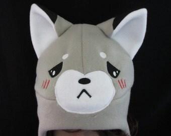 Fox Fleece Hat Grey Sad
