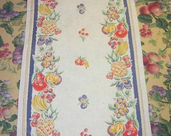 Vintage Tropical Fruit Towel or Runner Pineapples Cherries More