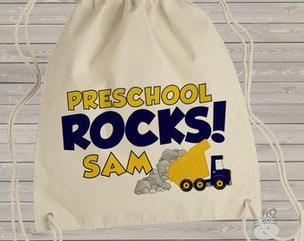 Student cinch sac - adorable preschool rocks dump truck personalized cinch sac for preschool, kindergarten, first grade
