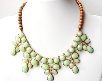 Mint Green & Wood Statement Necklace - Chunky Gold Necklace - Wood Beaded Statement Necklace - Light Green, Lime Green