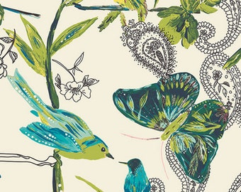 Teal Shower Curtain, Bird Butterfly Shower Curtain, Paisley Shower Curtain, Teal Bathroom Decor, Whimsical, Nature Themed Bathroom Accessory