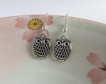 Antiqued Owl Earrings, Vintage Style, Silver Owl Earrings, Dangle Bird, Little Pink Box Jewelry