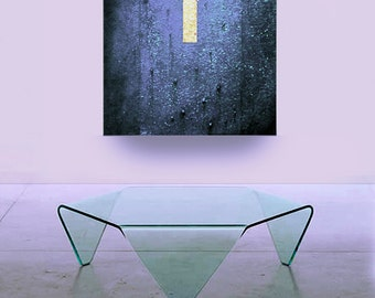 Large ABSTRACT PAINTING contemporary art 40 x 30 metallic blue canvas acrylic painting fine modern home decor Carol Lee /Leearte