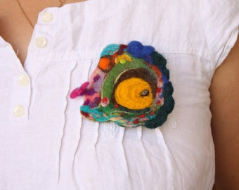 Hobbit Burrow Home Brooch, autumnal pin, fall winter decor, Hobbit House Waldorf, Elf Woodland art, felted brooch, statement over sized pin