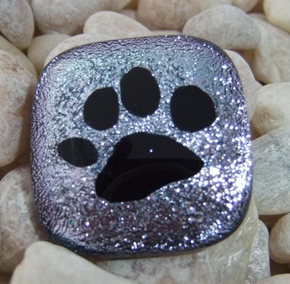 Pet Cremation Jewelry Paw Print Dog or Cat Ashes Fused in Glass Pendant c29