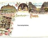 Vintage - Souvenir de PARIS, France - le Grand OPERA - Various Views,gallery, inside, outside, colorful - end XIX postcard-  good condition