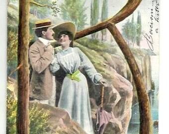 Vintage -1906 -letter B- ALPHABET- Romantic COUPLE- Beautiful colorful designed Postcard- Art Nouveau -Italian written, stamp-Good Condition