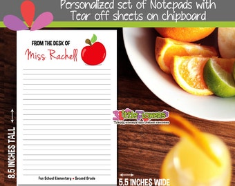 Teacher Notepad - Apple Notepad - Personalized Notepad - Teacher Personalized Stationery - Personalized Gift for teacher - 50 Sheets Notepad