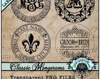 Wedding Clipart, Ornate Monograms, Wedding Monograms, Ornaments, Design Elements for DIY Invitations, Clipart Elements