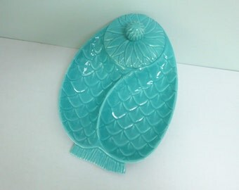 Aqua Pineapple Divided Serving Dish by Hoenig of Calif. Pottery, Chip & Dip with Lid, Crudité Platter, #70
