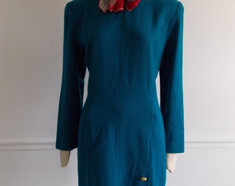 vintage 1980s teal shift dress / 80s gold button dress / 80s secretary dress