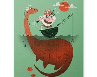 Loch Ness Monster Print / Nessie Print / Funny Print / Bagpipes Wall Art / Scotish Art Print / Home Decor / 8 x 10