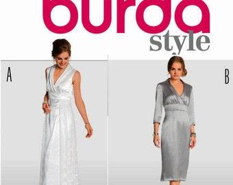 Formal Dress, Floor and Calf length Evening Dress Pattern - Burda 7261 Pattern- OOP UNCUT  US Sizes: 10 -12 -14 -16 -18 -20 -22