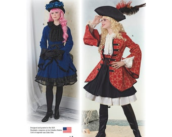 Pirate Wench & Steampunk Simplicity 8285 Sewing Pattern -Jacket, Skirt, Bustle and Top US Size: 6 -8 -10 -12 -14  or 14 - 16 - 18 - 20 - 22