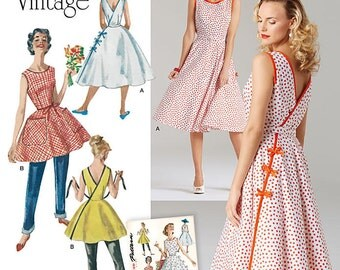 Misses'  1950's Wrap Dress in Two Lengths - Vintage Style Dress Pattern -  Simplicity 8085  Sizes: 6 -8 -10 -12 -14  or 14 -16 -18 -20 -22