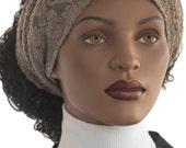 Stretch Lace Mesh Knit Headband Dreadie Loc Headband Wide Headband Beige Textured Wide Band Headmade