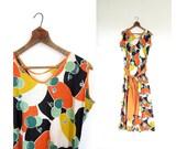 Vintage Beach Pajamas / 1930s Playsuit / 30s Jumpsuit / Cherry Print Beachwear / Small S
